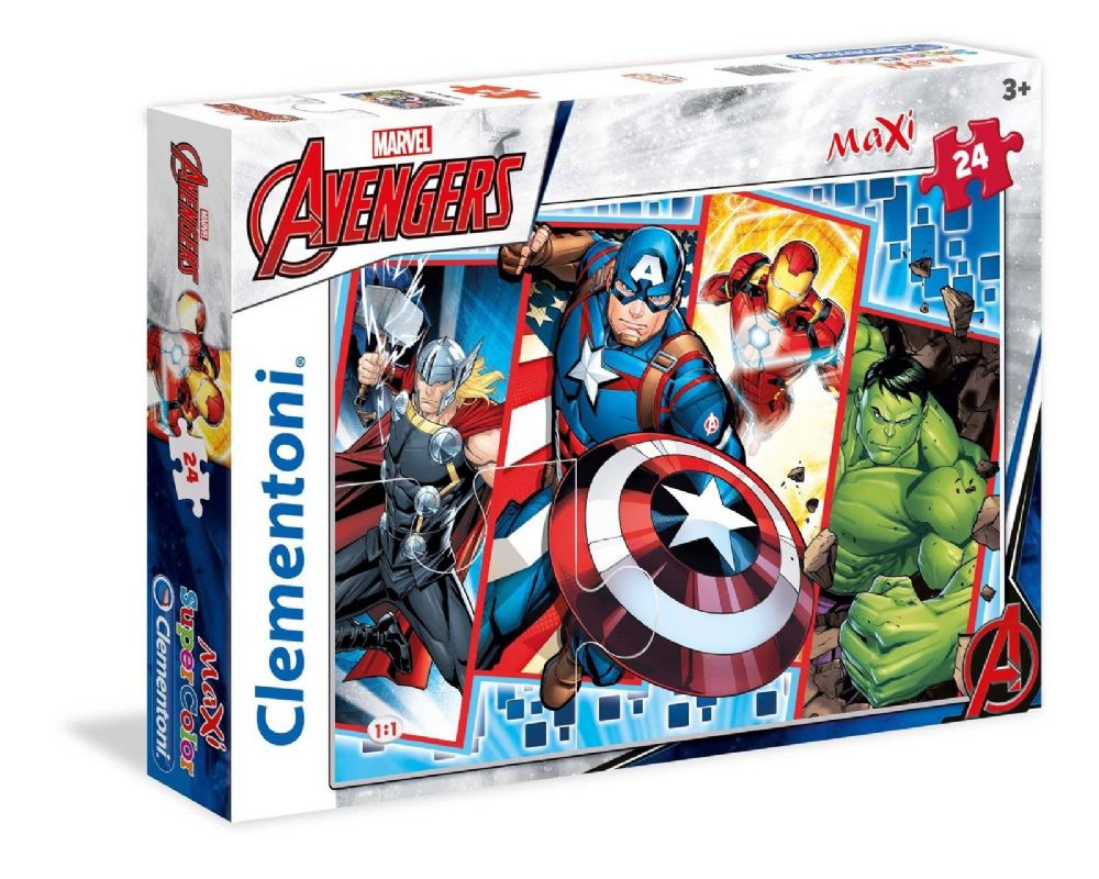 Kids Children Marvel Avengers Super Heroes 24 Pcs Maxi Jigsaw Puzzle Gift
